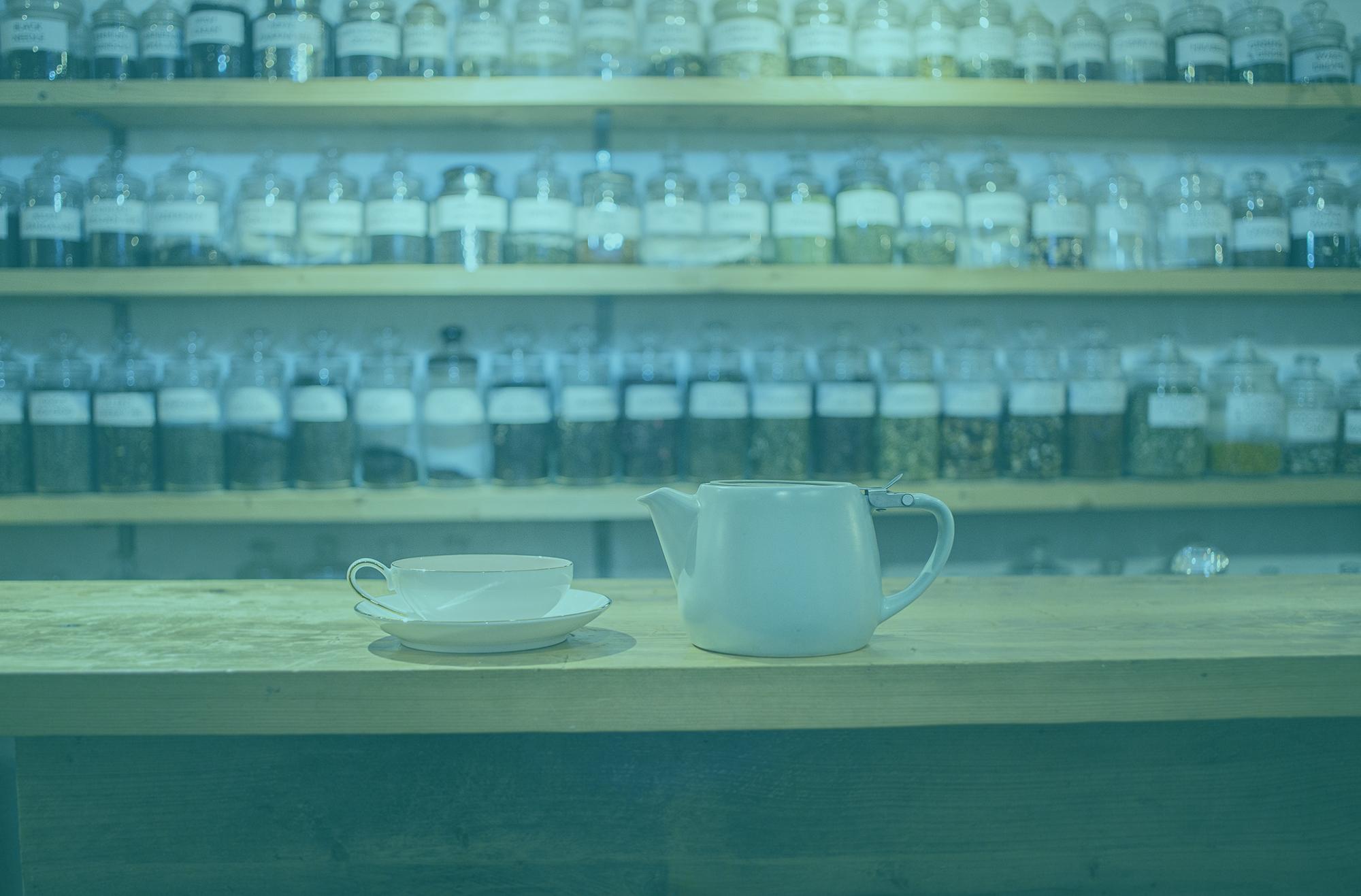 jars of tea on shelves