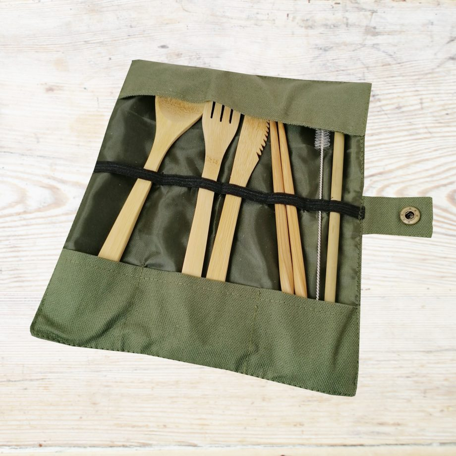 Bamboo Cutlery set green