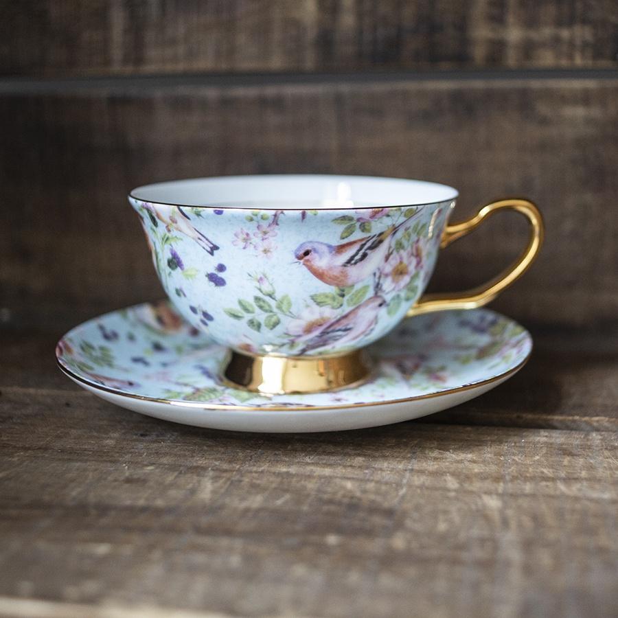 bone china cup and saucer - birds
