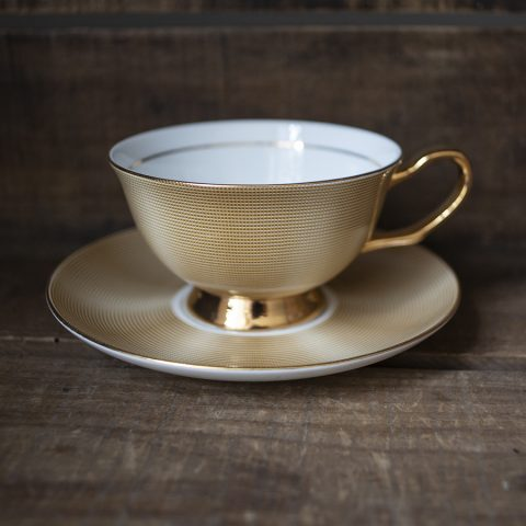 bone china cup and saucer - gold
