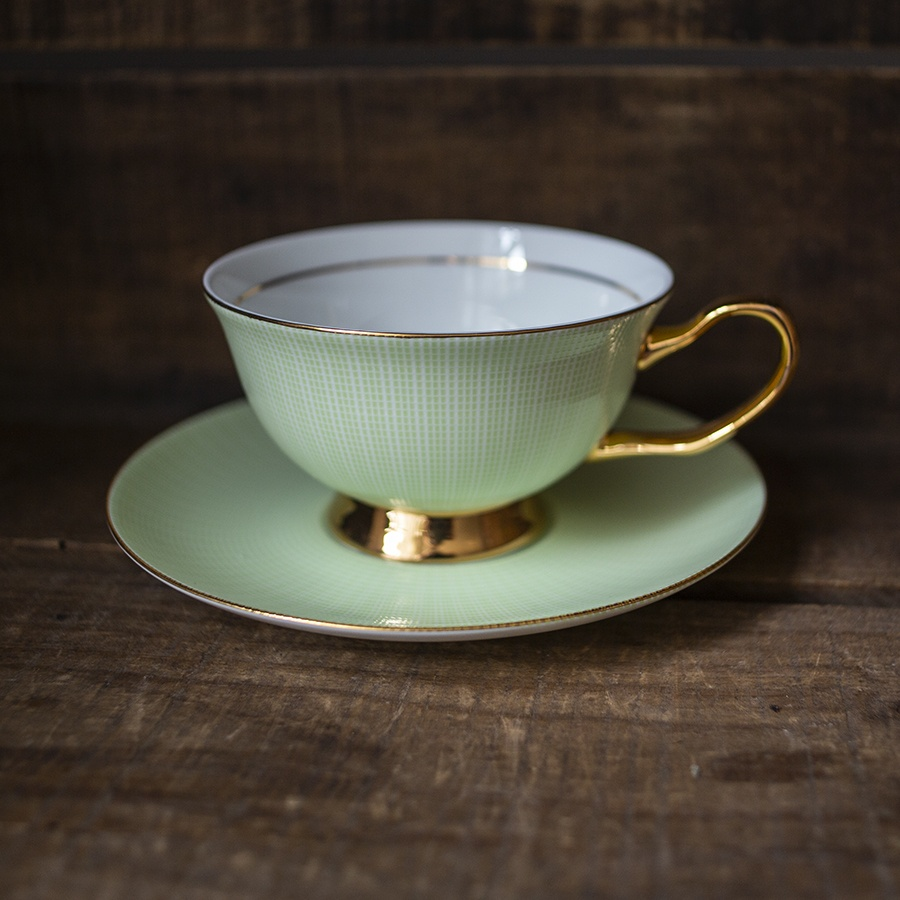 bone china cup and saucer - pale green