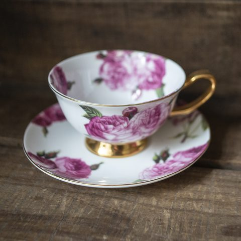 bone china cup and saucer - pink roses