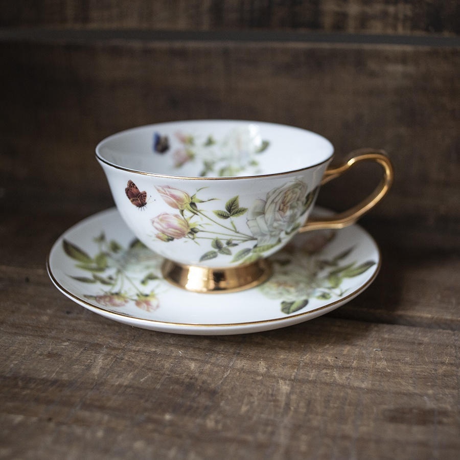 bone china cup and saucer - roses and butterflies